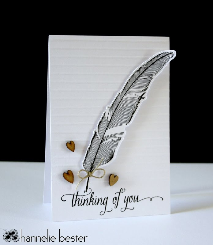 thinking of you card using hero arts feather set