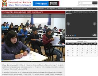 Resultados examen UANCV 2014-II Examen Universidad Andina Nestor Caceres Velasquez 17 de Agosto
