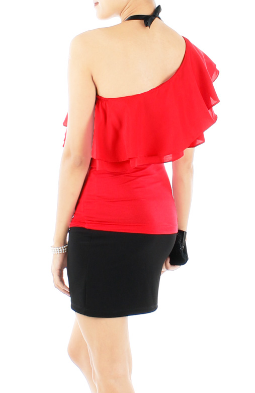 Red Flamenco One-shouldered Top