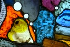 Stained-glass sea-bed treasure-chest fish