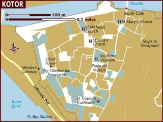 Mapa de los lugares turísticos de Kotor