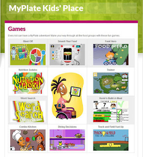 screenshot of Games page on MyPlate Kids' Place website