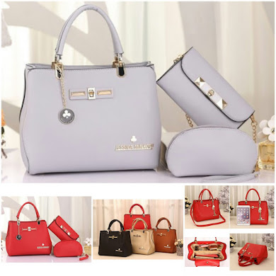 JESSICA MINKOFF BAG ( 2 IN 1 SET ) - GREY , RED
