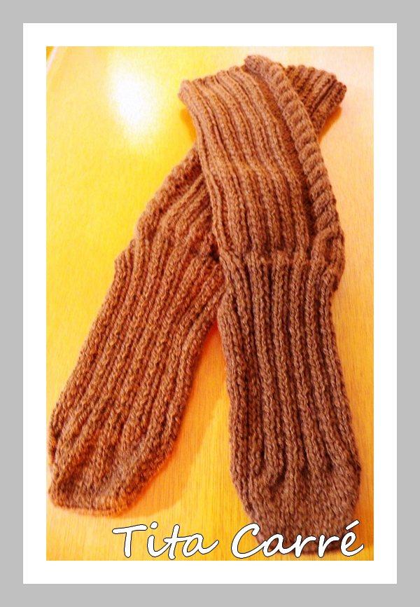 Meia em tricot com ponto espiga