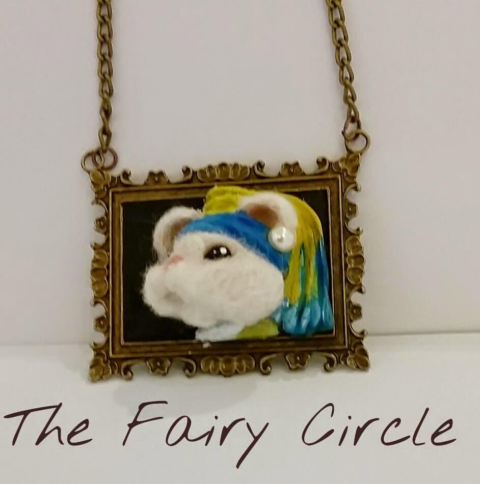 """ooak mouse mice vermeer quadro topo collana ciondolo """"la ragazza con l'orecchino di perla"""" necklace pendant"""