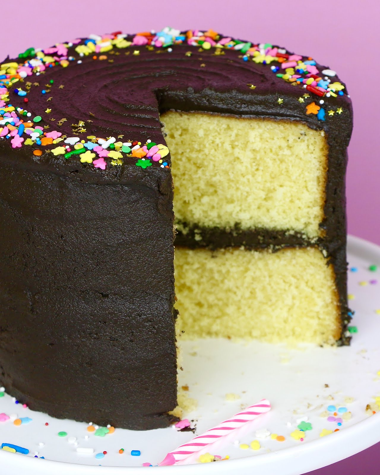 {VIDEO} THE BEST Yellow Birthday Cake With Chocolate Frosting