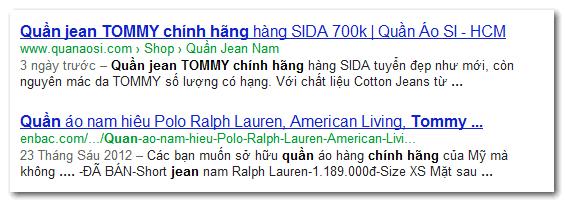 Kết quả hiện Rich snippets - Breadcrumbs - Menu trên Google