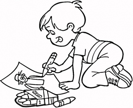Children Drawing Coloring Page