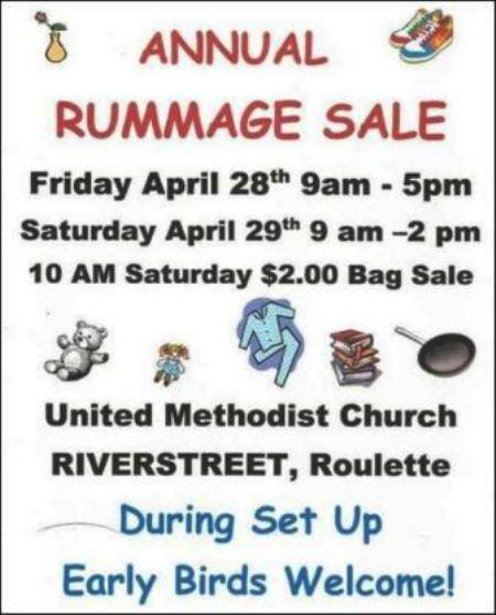 4-28/29 Annual Rummage Sale , Roulette UMC