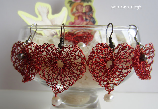 Crocheted Heart Wire Earrings