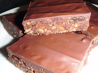 slices of chocolate covered tiffin