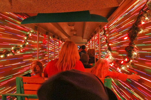 irvine park railroad christmas train light tunnel