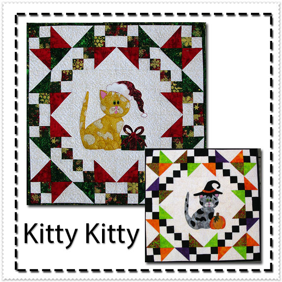 Kitty Kitty easy applique pattern at Freemotion by the River