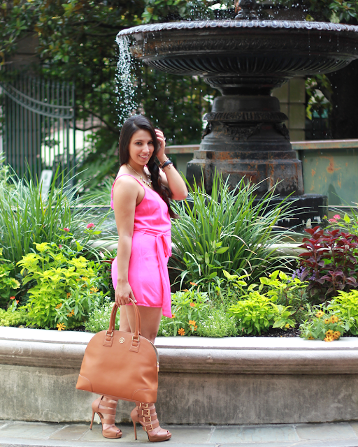 pink romper, tory burch camel bag, kristin cavallari lark, Chinese laundy lark, lark, how to wear a romper, how to wear a romper for pear shape, how to wear a romper for all body shapes, rocksbox, rocksbox promo code, SBScon, southern bloggers society, atlanta bloggers, atlanta fashion bloggers, best fashion bloggers, simply sabrina