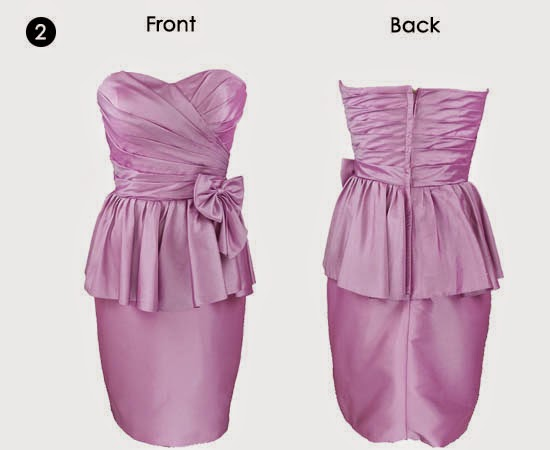 Pink sweetheart neckline peplum cocktail dress with big bow knot decorated