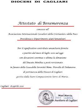 01,giugno Attestato di Benemerenza all'Ass.Inter.Cavalieri della Cristianità e della Pace