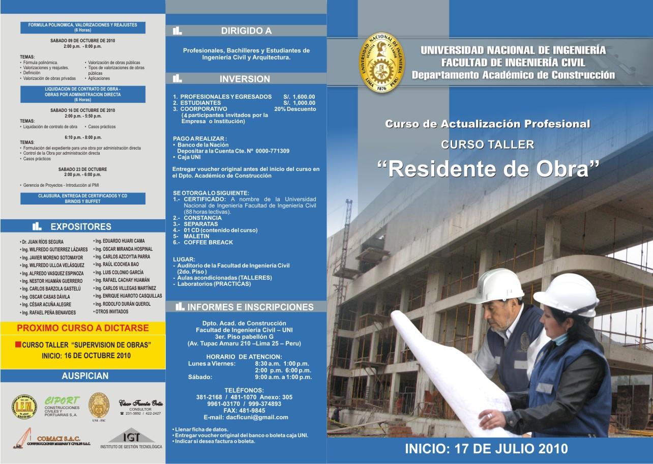 Departamento academico de construcci n curso de for Proyecto de construccion de aulas de clases