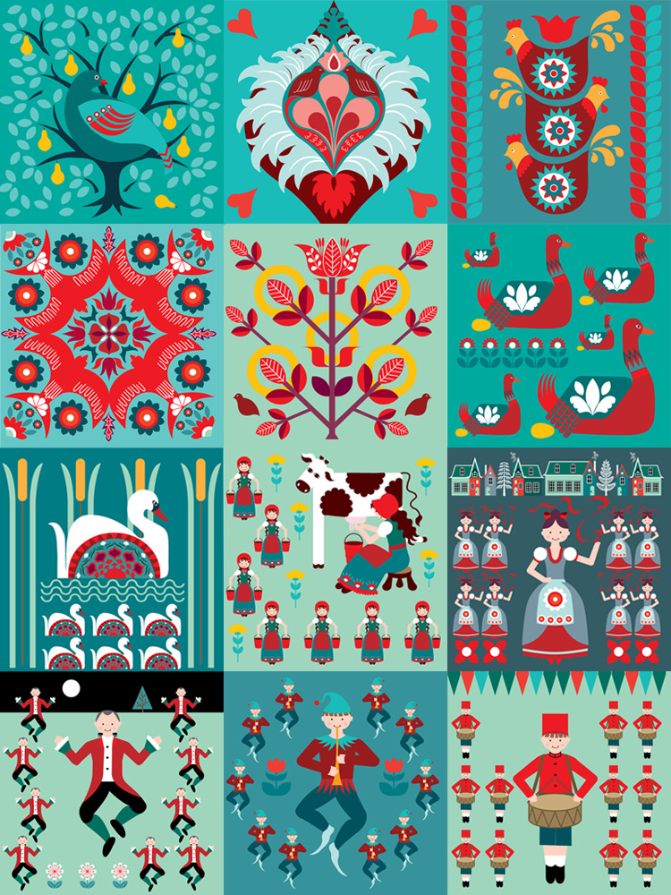 The Homely Place 12 Days Of Christmas Card Set