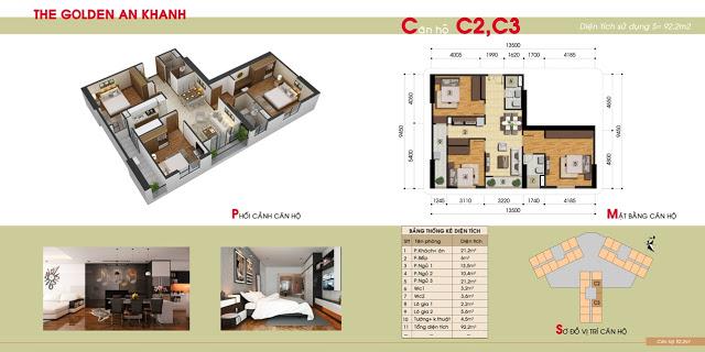 Thiết kế căn hộ 3PN chung cư The Golden An Khánh