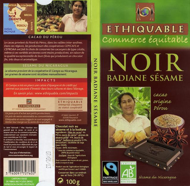 tablette de chocolat noir gourmand ethiquable pérou noir badiane sésame