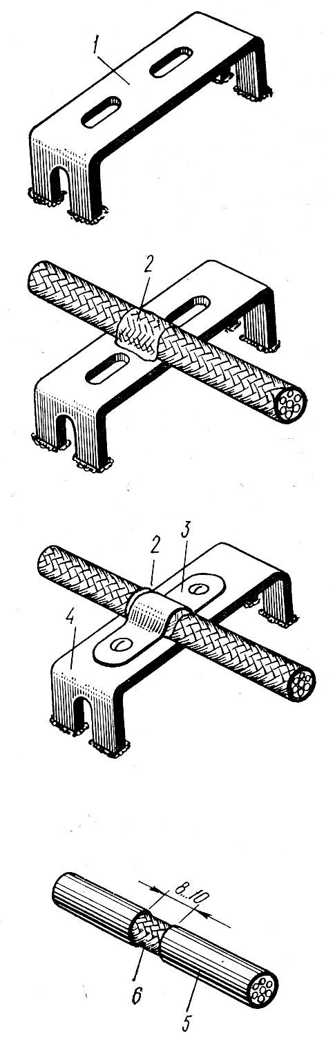 Заземление экранных оплеток под скобой с помощью токопроводящего покрытия