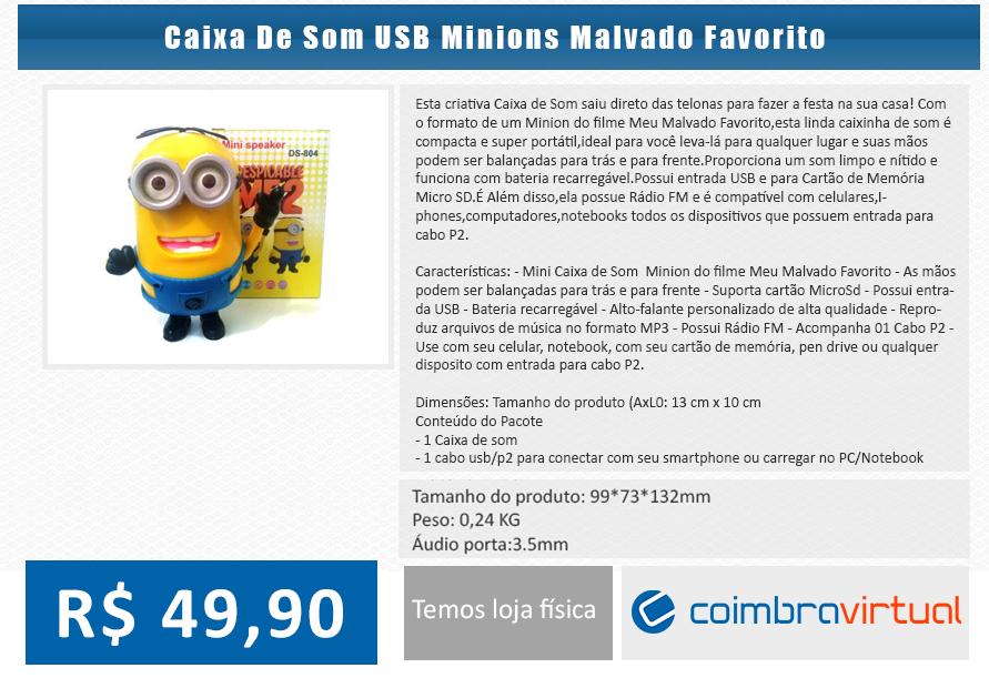 Caixa MINIONS( Meu Malvado Favorito) USB, MP3, Rádio - Coimbra Virtual