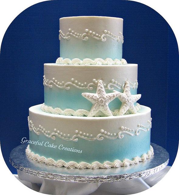 Beautiful Bridal Beach Theme Wedding Cakes
