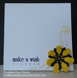 Handmade clean and simple card using Dienamics Prima Donna flower and Heidi Grace stamps