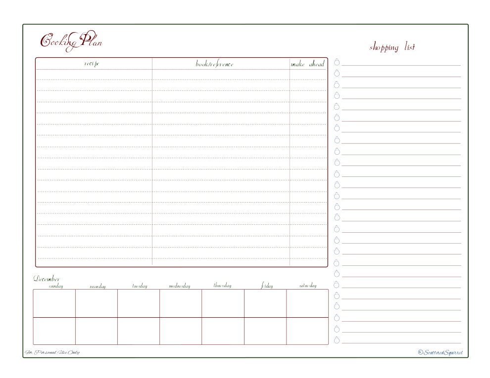 free printable, shopping list, check list, planner, recipe reference ...