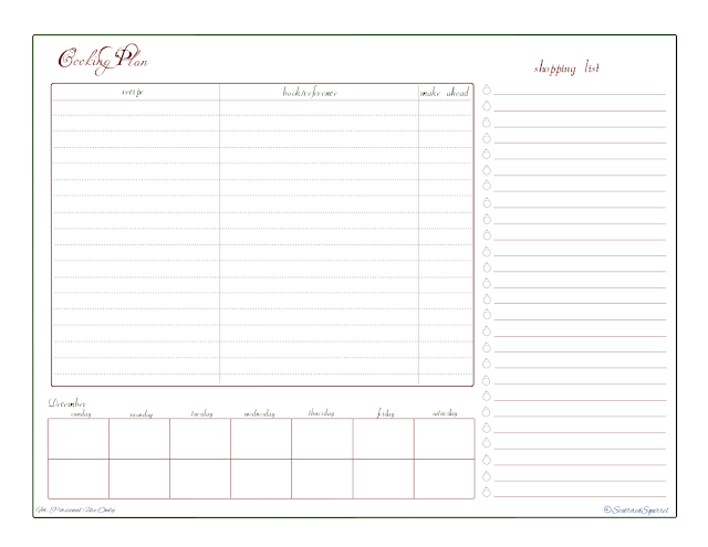 free printable, shopping list, check list, planner, recipe reference/index