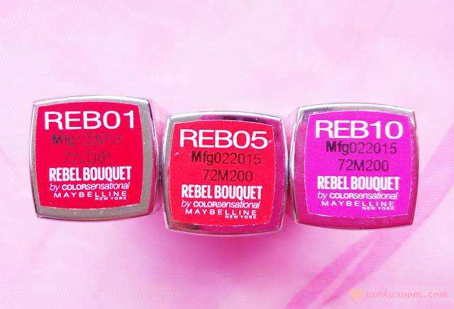 Maybelline New York Rebel Bouquet Lipstick by Colorsensational Review shade REB01, REB05 & REB10