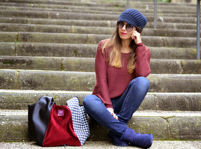 look bordeaux e blu