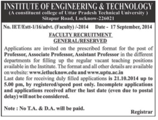 Government Jobs, Graduation Degree, IET, Institute of Engineering and Technology, Jobs In Uttar Pradesh, PG, PHD