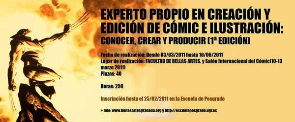 Cartel de la primera edición del experto propio en creación y edición de cómic e ilustración de la Universidad de Granada