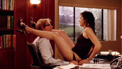 mary-louise parker in panties sitting on desk in front of matthew modine