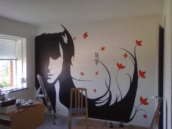 Wall decal quotes silhouette paintings transform wallls for Creative mural art