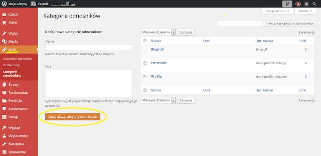 Wordpress: Linki → Kategorie odnośników