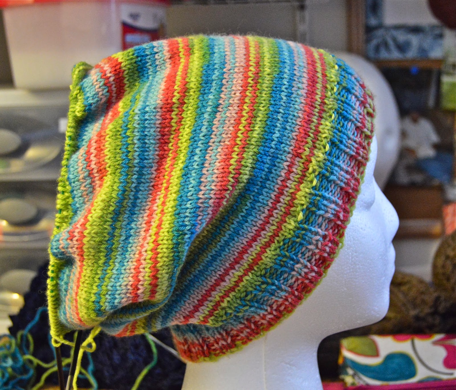 slouchy striped knit hat for dreadlocks to be for sale on https://www.etsy.com/shop/JeannieGrayKnits