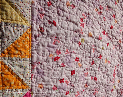 Kitten Play, quilting detail, front side