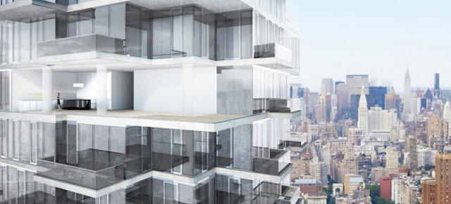 Rendering of upper floors of 56 Leonard Street by Herzog & De Meuron with New York City in the bacground