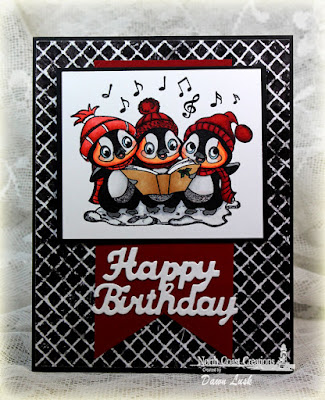 North Coast Creations Stamp set: Caroling Penguins, North Coast Creations Custom Dies: Happy Birthday, Our Daily Bread Designs Paper Collection: Chalkboard