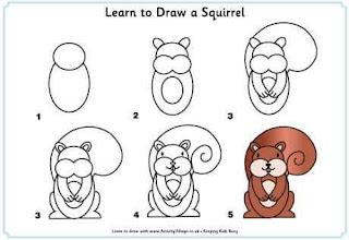 Cara Menggambar Tupai