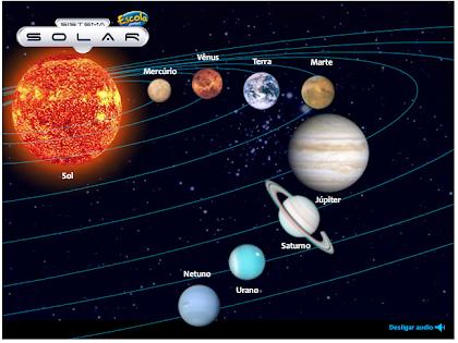 Jogo educativo. O sistema solar.