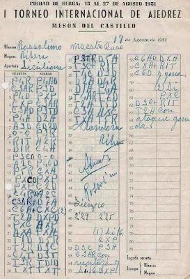 Planilla original de la partida de ajedrez Rossolimo-Ribera jugada en 1951