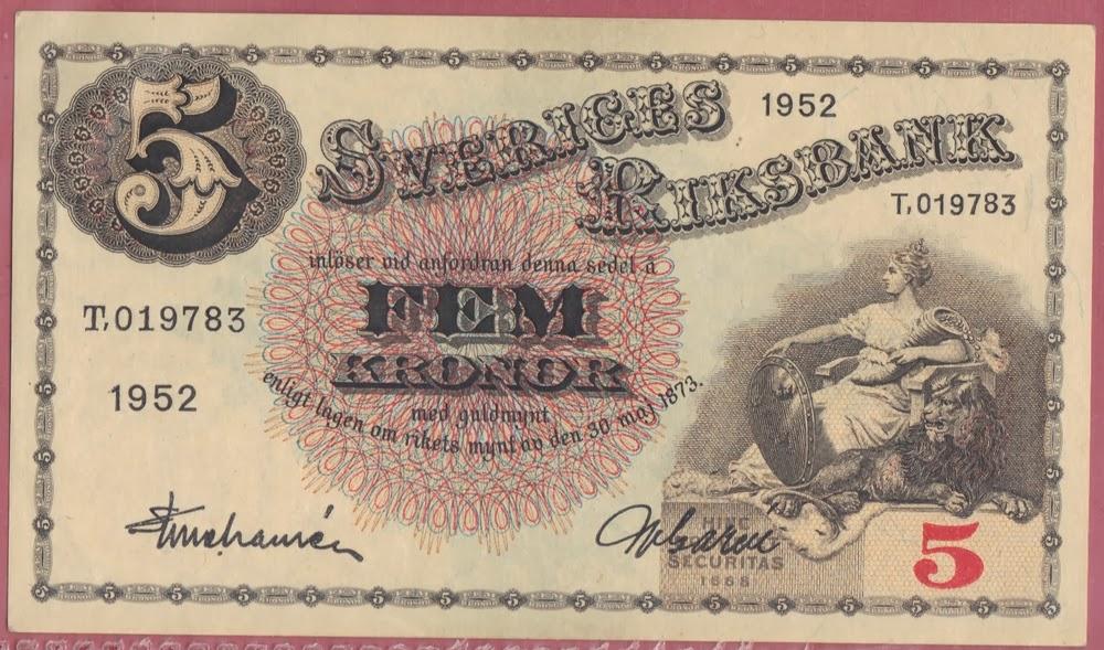 Svezia 5 Kronor 1952 P# 33ai