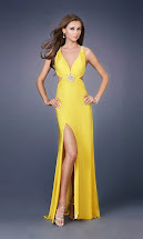 Yellow Prom Dress with Slit