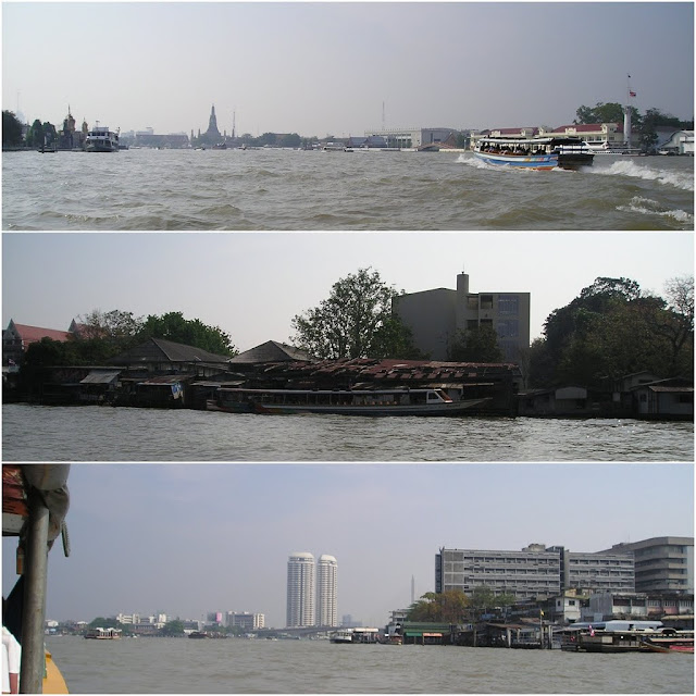 A long boat ride to see skyscrapers, temples and houses along Chao Phraya River in Bangkok, Thailand