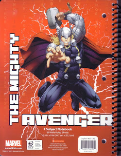 Back of Avengers Assemble notebook Thor edition