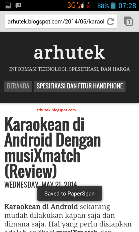 Cara Simpan Halaman Di Chrome Android (Review PaperSpan)