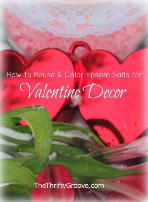 Reuse Color Epsom Salts, Red, Heart, Valentine's Decor, Tulips